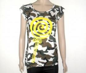 camouflage t shirt, yellow shine lollipop candy pastel color